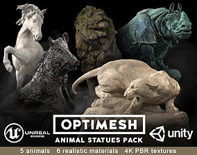 game-ready Animal Statues 3D PBR Pack lion puma rhino boar