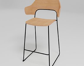 AFI - Stackable sled base low stool with full 3D model 1
