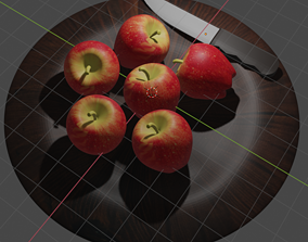 Apple fruit with knife and plate 3D print model
