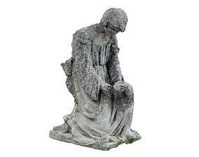 Destroyed Angel Funeral Sculpture Monument 3D model