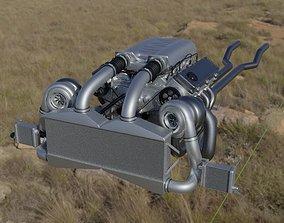 Twin Turbo V8 Engine 3D