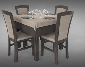 Restaurant table plus cutlery and chairs 3D PBR