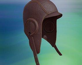 pilot 3D model Leather Aviation Flight Helmet