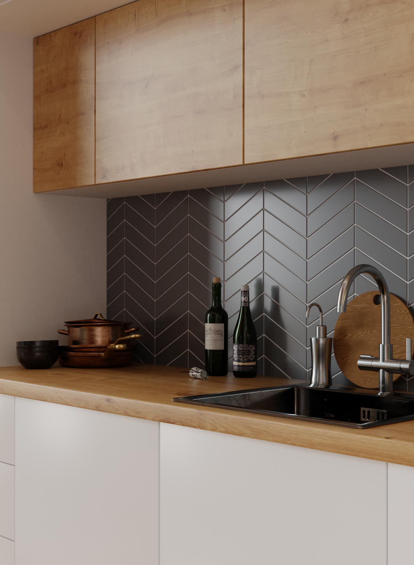 3D visualization of modern kitchen furniture.