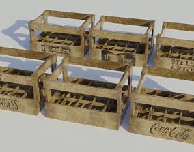 3D asset Wooden Bottle Crate - Low-poly PBR