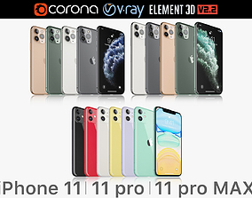 3D Apple iPhone 11 Pro and 11 Pro MAX and 11 All colors