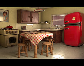 3D asset Cartoon Kitchen Layout