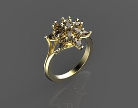3D print model jewelry Classic Flower Cluster Ring