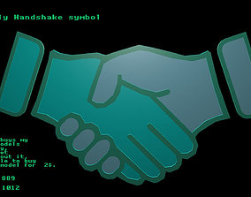 3D model Low poly Handshake symbol