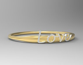 3D printable model Love Ring with 24k Gold Polished Text 3