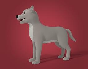3D asset Cartoon Gray Wolf