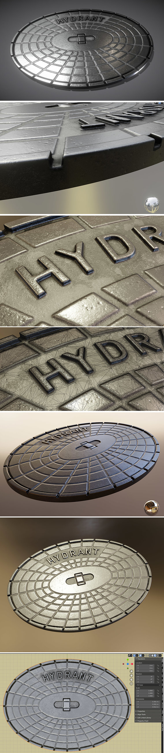 Sewer Cover 2 Hydranten High-Poly (Blender-2.91 Eevee)
