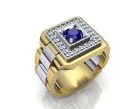 3D printable model Rolex Men ring 6mm gem