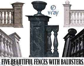 3D model Five fences with balusters and columns