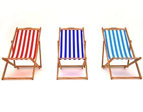 3D model wood Beach chair