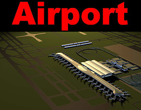 3D model Airport With Train line and Railroad