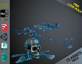 3D asset Skulls1 Meat Alien Bones