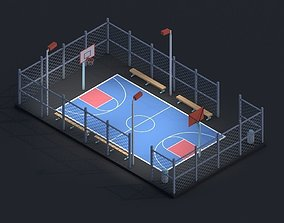3D asset Cartoon Low Poly Basketball Court