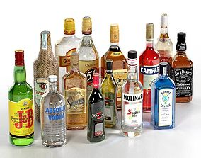3D model vodka Collection of Alcoholic Drinks