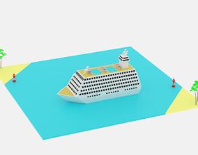 Lowpoly Cartoon Cruise Ship 3D asset