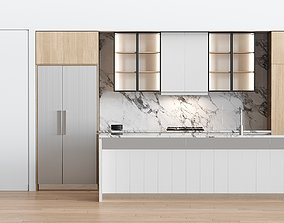 White Modern kitchen 3D counter