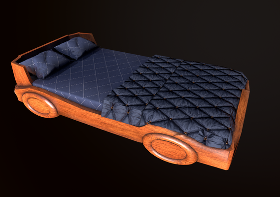 kids bed lowpoly 3d model gameready