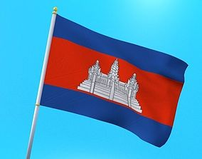 Cambodian flag animated low poly 3D model