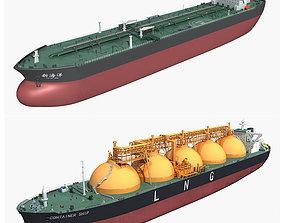 Cargo ships collection tank 3D