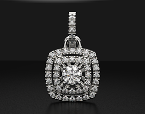 Stylish pendant with diamonds for 3D printable model 3