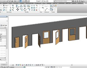 DOOR WITH VISION PANEL REVIT FAMILY 3D ROTATED FULL