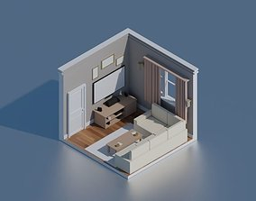 low-poly 3D Isometric Low Poly Living Rooms