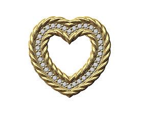 Braided Heart pendant with diamonds 3D printable model