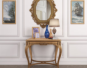 Antique French onyx table and Antique gold 3D model 2