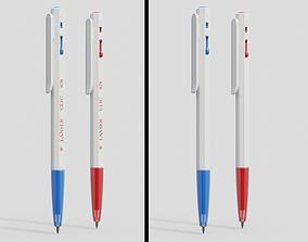 Pen red blue 3D asset low-poly PBR
