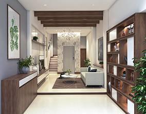Living room design 3D model animated human