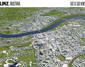 Linz Austria 50x50km 3D model