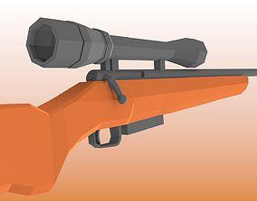 3D asset Low-Poly Bolt Action Rifle