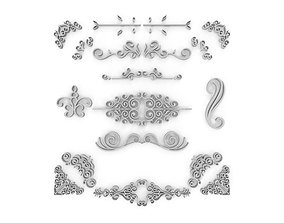 Ornate Swirls 05 Set 3D model