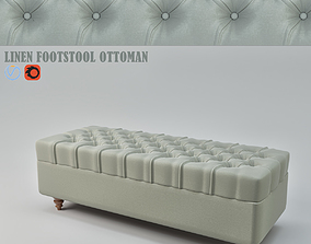 Linen Footstool ottoman 3D model
