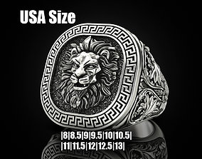 Lion ring Greek ornament 3D printable model