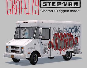 Classic Graffity Van - C4D Rigg - PBR 3D model