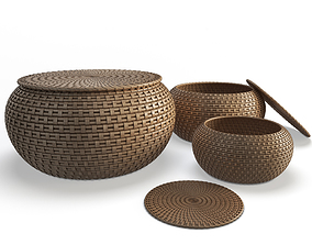 3D model Rattan Braided Baskets storage