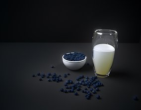 3D model blueberries and milk set