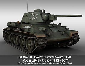 3D model OT-34-76 - Soviet Flamethrower Tank - 107