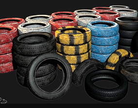 Low Poly PBR Tyre Pack 3D asset realtime