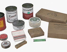 3D model low-poly German Combat Ration WWII