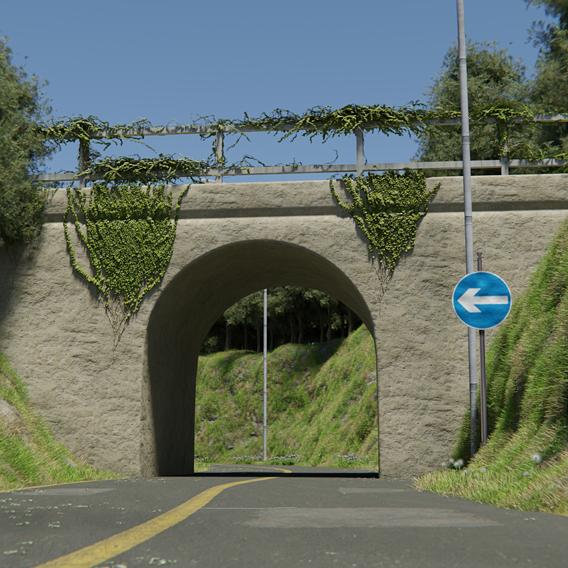 Road Bridge Scene Made in Blender