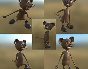 Cartoon Mouse 02 5 Pose PBR 3D model