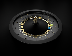 3D Black Casino Roulette Wheel with a blue ball