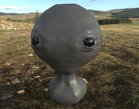 Grey Alien Bust PBR 3D model